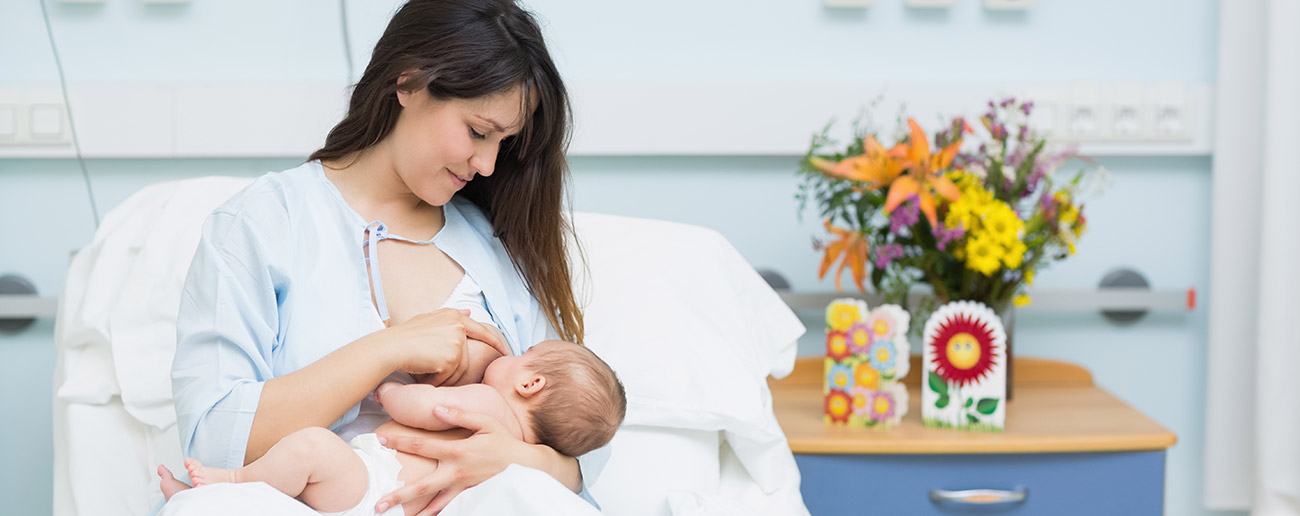 Mom and baby in a delivery room