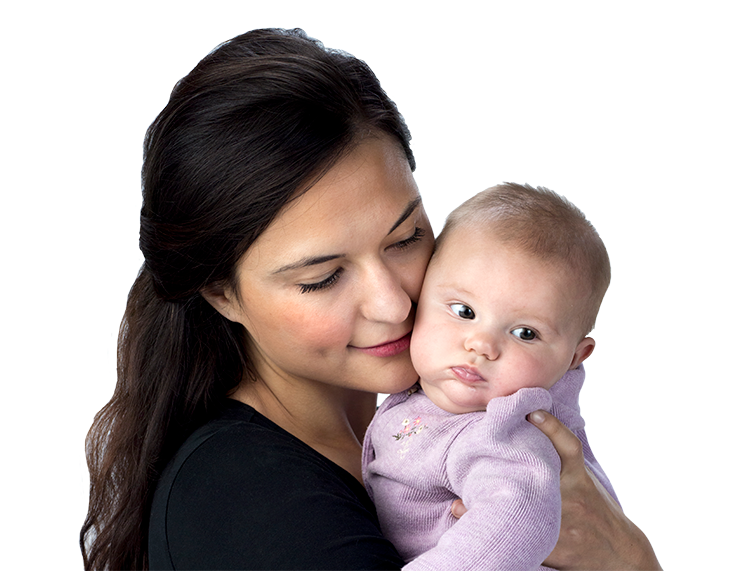 Image of a woman holding her baby up to her cheek